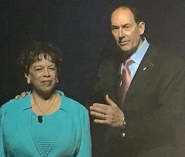 Outgoing Argentum chair Brenda Bacon, left, and her successor, Loren Shook.
