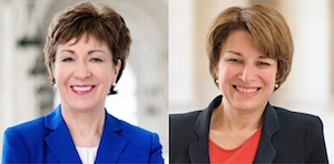 Susan Collins (R-ME), left, and Amy Klobuchar (D-MN).