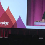 LeadingAge President and CEO Katie Smith Sloan speaks Monday at the general session.