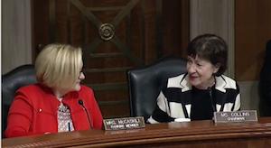 Sen. Susan Collins (R-ME), right, compliments Sen. Claire McCaskill (D-MO).