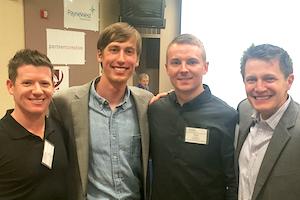 Adviser Joe Sample, left, students Seth Carlstrom and Shae Stein, and Les Craig, incubator director.