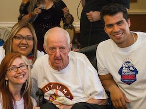Lindsey Hernandez, upper left; Oren Seaton, center; and Texas Rangers catcher Robinson Chirinos.