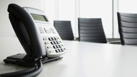 Office phone, conference table