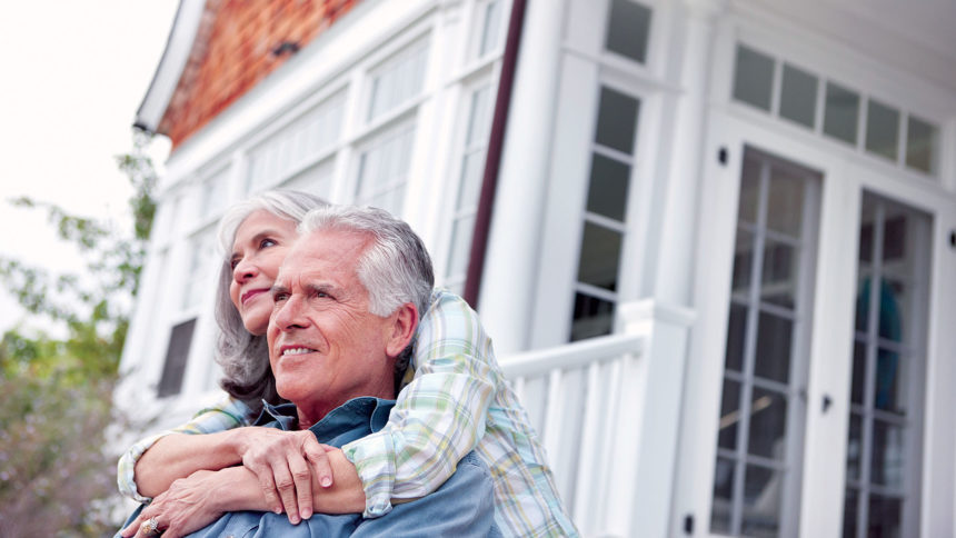 Older couple, house, exterior