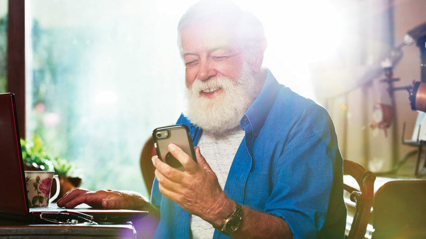 Senior with technology, smartphone