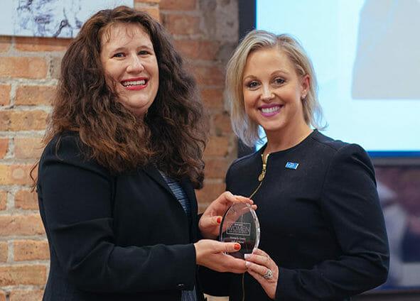 Kimberly Green receiving Hall of Honor award
