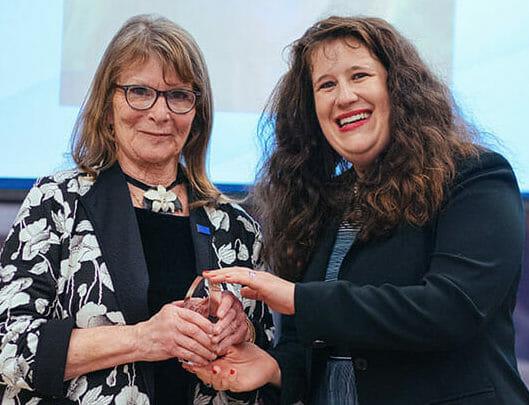 Andrea Leebron-Clay receiving Hall of Honor award