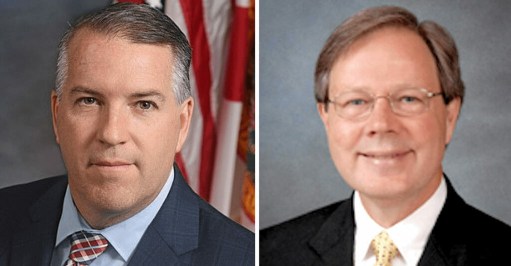 headshots of Florida Reps. Matt Willhite, left, and Scott Plakon