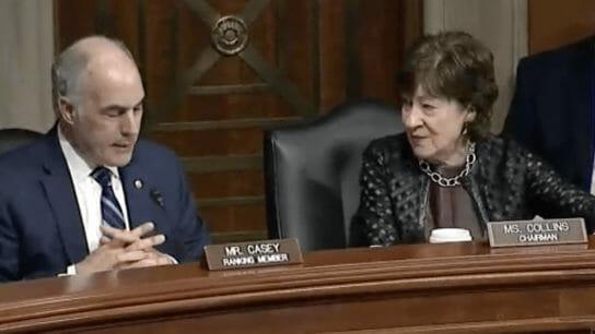 Sens. Bob Casey and Susan Collins talking.