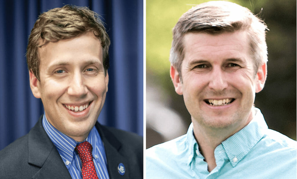 Headshots of Connecticut Sens. Matt Lesser and James Maroney.