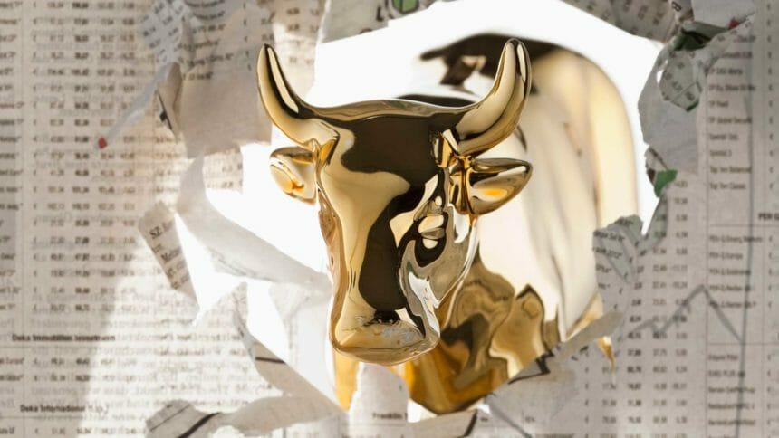 gold bull crashing through stock charts