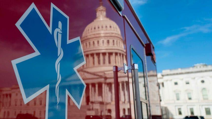 ambulance reflecting Capitol