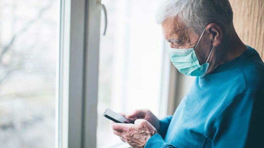 senior using cellphone