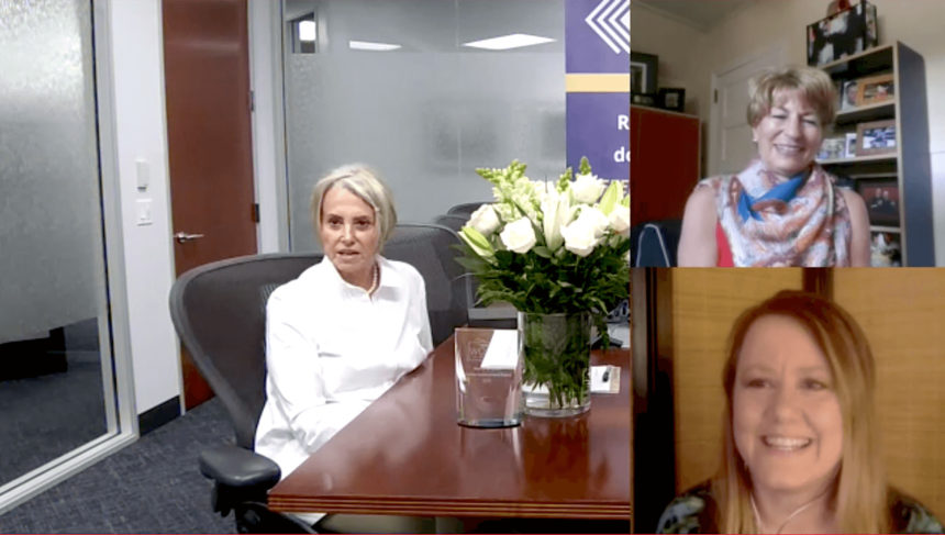 three women in a video chat