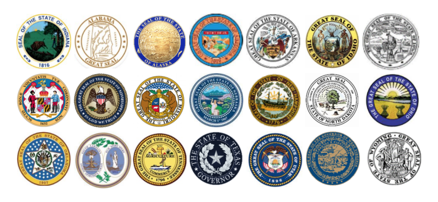 state seals for 21 states