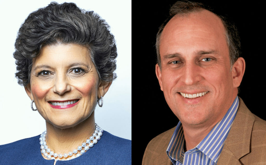 headshots of Deb Cafaro and Greg Stapley