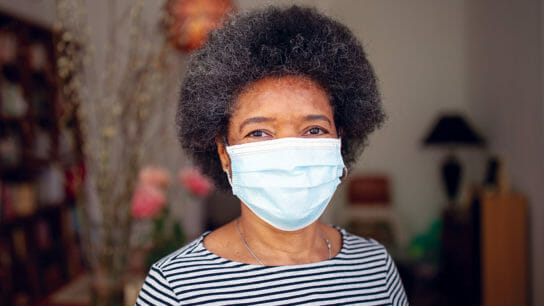 Black woman wearing face mask