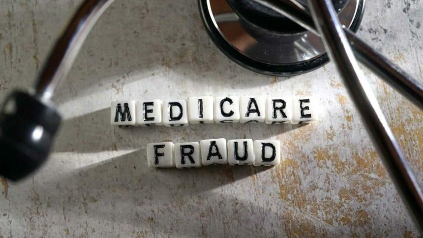blocks spelling Medicare Fraud, with stethoscope
