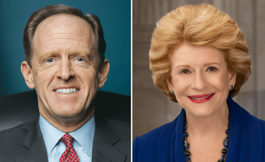 headshots of Sens. Pat Toomey and Debbie Stabenow