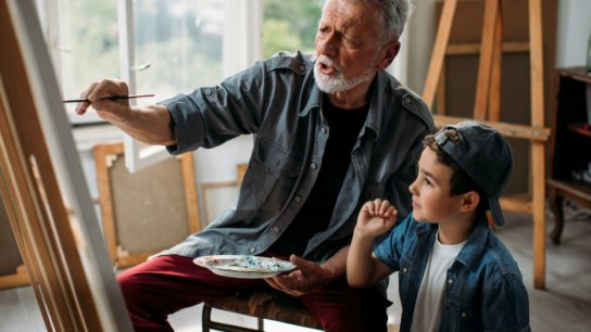 grandfather and grandson painting