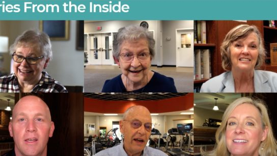 Safer in Senior Living block images of residents, caregivers, families