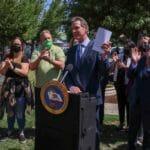 California Gov. Gavin Newsome at a podium