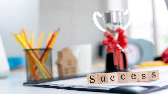 trophy on desk